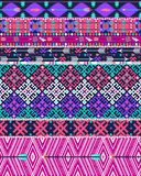 Tribal seamless aztec pattern with birds and flowers Stock Images
