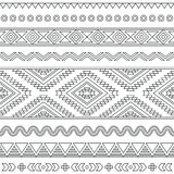 Tribal seamless Aztec stroke black pattern on white Royalty Free Stock Photography