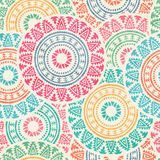Tribal seamless background with round geometric ornament Royalty Free Stock Images