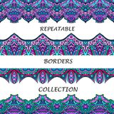 Tribal seamless borders collection in lilac and turquoise colors. Stock Image