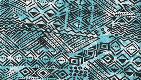 Tribal seamless grunge blue background. Royalty Free Stock Photos