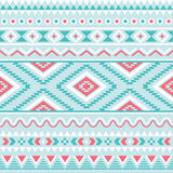 Tribal seamless pattern, aztec blue and pink background Stock Photo