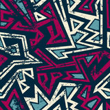 Tribal seamless pattern with grunge effect Royalty Free Stock Photography