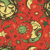 Tribal seamless pattern with sun, moon and stars. Hand-drawn background for your design. Great for wrapping paper, covers, textile print Royalty Free Stock Images