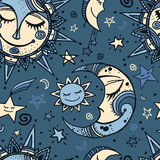 Tribal seamless pattern with sun, moon and stars. Hand-drawn background for your design. Great for wrapping paper, covers, textile print Royalty Free Stock Image