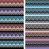 Tribal seamless two patterns, aztec ombre print. Vector seamless aztec ornament, ethnic pattern in pink, blue and purple Royalty Free Stock Image