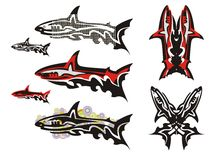 Tribal shark set Royalty Free Stock Images