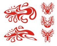Tribal shark symbols with drops Stock Photo