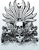 Tribal skulls illustration. Great for backgrounds, illustrations, tattoos and t-shirts Stock Photography