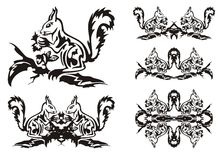 Tribal squirrel symbols Stock Images