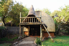 Tribal straw house in South Africa. stock image