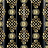 Tribal Striped Gold 3d Seamless Pattern Stock Photo