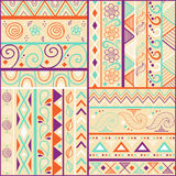 Tribal striped hand drawn seamless pattern. Stock Images