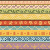 Tribal striped hand drawn seamless pattern. Royalty Free Stock Photos