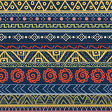 Tribal striped hand drawn seamless pattern. Royalty Free Stock Images