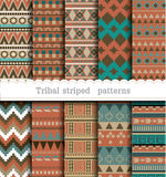 Tribal striped seamless patterns Royalty Free Stock Image