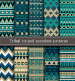 Tribal striped seamless patterns Royalty Free Stock Photos
