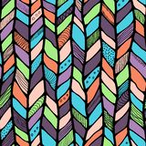 Tribal style braided seamless pattern, ethnic chevron multicolor. Braid lines Stock Images