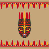 Tribal style card with mask Royalty Free Stock Photography