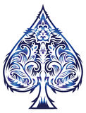 Tribal style design - spade ace poker playing cards,  illustration. Easy edit Royalty Free Stock Photography