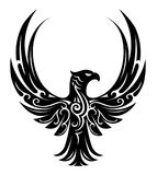 Eagle tattoo shape. Tribal style eagle tattoo on white Royalty Free Stock Image