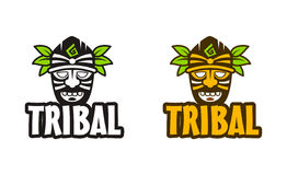 Tribal style mask vector illustration. Vector ethnic tiki mask for logo template Stock Photo