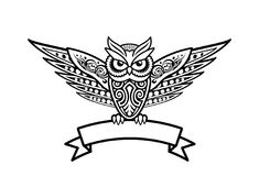 Tribal style owl vector illustration. royalty free illustration