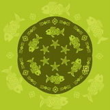 Tribal Style Vector. Hand Drawn Picture. Freehand Mural Drawing. Ornamental Fish Vector Pattern In Circle. Royalty Free Stock Image