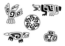 Tribal stylized animals and sun Stock Photo