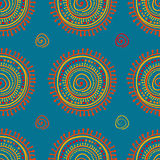 Tribal stylized sun ornament seamless pattern Stock Images