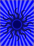 Tribal Sun on Blue Sun Burst Background. Dark Tribal Sun on Blue Sun Burst Background Royalty Free Stock Photos