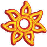 Tribal Sun Icon. Isolated on white stock illustration