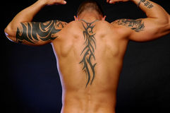 Tribal tatt's. Male back with tribal tattoo's stock photography