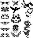 Tribal tatto with dragons. Vector illustration of a set of tribal tattoo Stock Photos