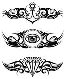 Tribal tattoo elements. Set of tribal tattoo elements with anchor, diamond and eyes Vector Illustration