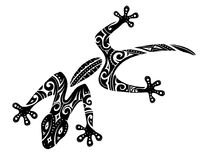 Maori style gecko tattoo. Tribal tattoo of the gecko lizard with polynesian Maori ethnic elements Royalty Free Stock Photo