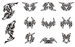 Tribal tattoo imaginary animal symbols Royalty Free Stock Photo