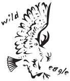 Tribal tattoo - Wild eagle. Black and white vector: wild eagle. Tribal tattoo style. Very easy to edit: all elements are separated stock illustration