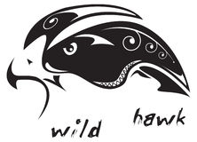 Tribal tattoo Wild hawk. Black and white vector: wild hawk. Tribal tattoo style. Very easy to edit: all elements are separated Stock Photography