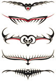 Tribal tattoos set red Royalty Free Stock Photography