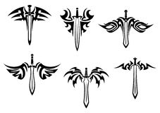 Tribal tattoos with swords Stock Photography