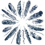 Tribal theme background with feathers Royalty Free Stock Image