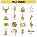 Tribal icon set. Tribal thin line icons set, vector illustration. Boho elements, bohemian style, ethnic american symbols. Colored isolated illustrations. Simple Stock Photography