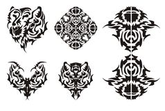 Tribal tiger elements. Flaming tiger head and floral elements received from it in tribal style stock images