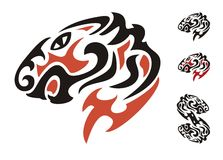 Tribal tiger head. Black and red on the white Stock Images