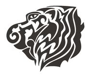 Tribal tiger head. Black on the white Royalty Free Stock Image