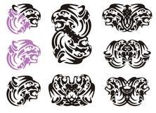 Tribal tiger head symbols Stock Photo