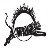 Tribal tiger jump vector outline illustration royalty free stock photo