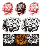 Tribal tiger roar splashes. Flaming tiger roar. Tribal tiger head with blood drops splashes Stock Image