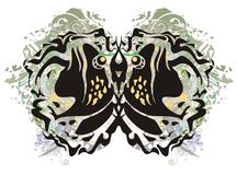 Tribal toad butterfly wings splashes Stock Photography